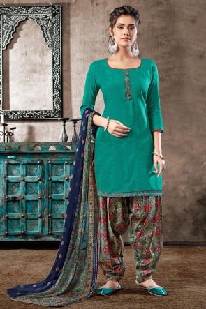 Party Wear Teal Digital Print Cotton Salwar Suit With Chiffon Dupatta