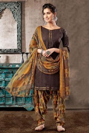 Splendid Brown Cotton Digital Print Salwar Suit With Chiffon Dupatta