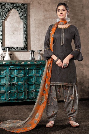 Delicate Grey Embroidered And Printed Cotton Salwar Suit With Chiffon Dupatta