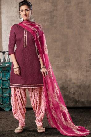 Excellent Wine Digital Print Cotton Salwar Suit With Chiffon Dupatta