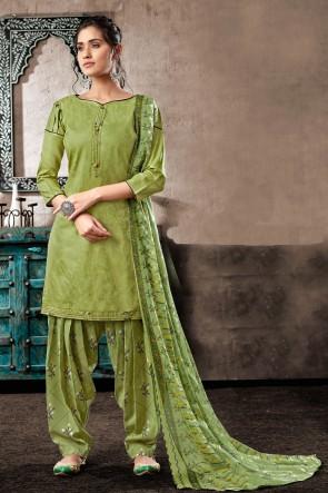 Appealing Pista Digital Print Cotton Salwar Kameez With Chiffon Dupatta
