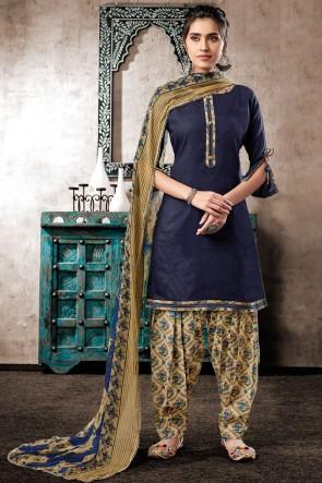 Graceful Navy Blue Digital Print Cotton Salwar Kameez With Chiffon Dupatta