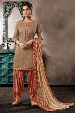 Stylish Cotton Khaki Digital Print Salwar Suit With Chiffon Dupatta
