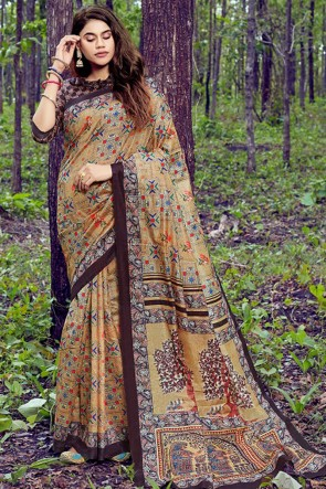 Ultimate Multicolor Weaving Work And Printed Silk Saree With Printed Blouse