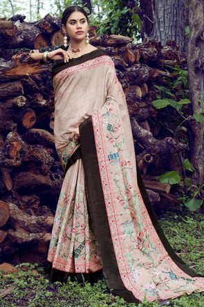 Excellent Rust Weaving Work And Printed Silk Saree With Printed Blouse