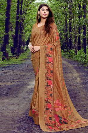 Stunning Brown Weaving Work And Printed Silk Saree With Printed Blouse