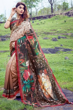 Heavy Designer Multicolor Printed And Weaving Work Silk Saree With Printed Blouse