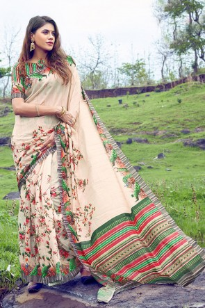 Supreme Cream Printed And Weaving Work Silk Saree With Printed Blouse