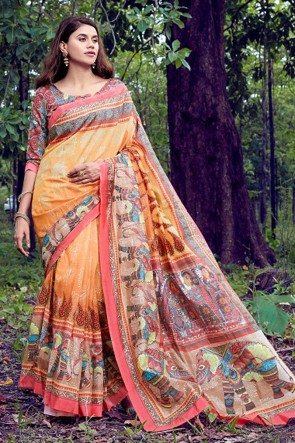 Excellent Orange Weaving Work And Printed Silk Saree With Printed Blouse