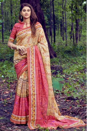 Supreme Multicolor Printed And Weaving Work Silk Saree With Printed Blouse