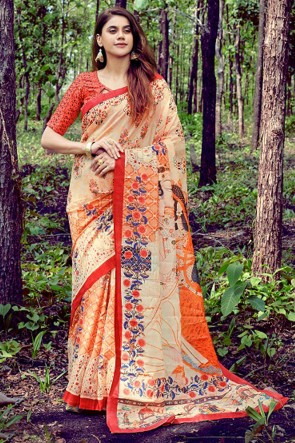 Desirable Weaving Work And Printed Cream Silk Saree With Printed Blouse
