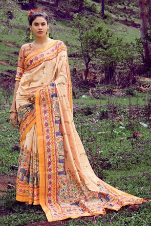 Classy Cream Printed And Weaving Work Silk Saree With Printed Blouse