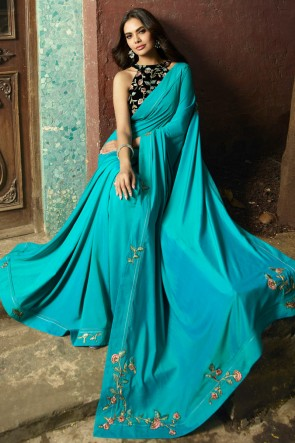 Stunning Sky Blue Embroidred Chanderi Saree With Printed Blouse