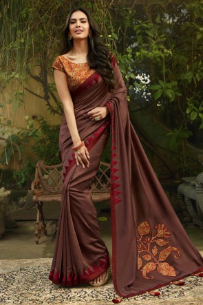 Splendid Embroidred Brown Chanderi Saree With Printed Blouse