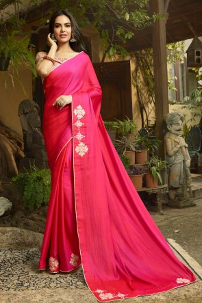 Pleasing Pink Embroidred Chanderi Saree And Blouse