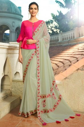 Pretty Pista Chiffon Embroidred Saree With Printed Blouse