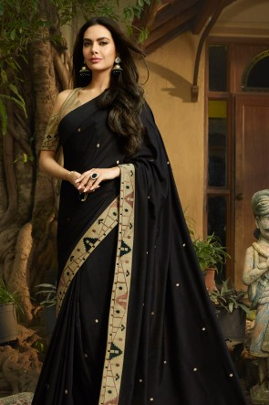 Solid Black Embroidred Chanderi Saree With Printed Blouse