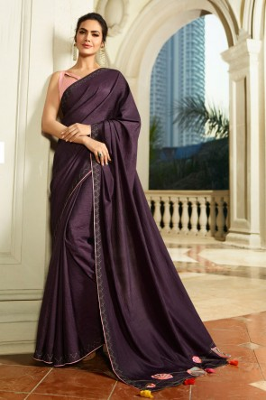 Supreme Embroidred Wine Chanderi Saree With Printed Blouse