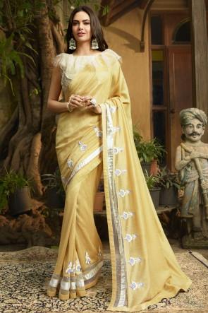 Stylish Yellow Embroidred Chanderi Saree And Blouse