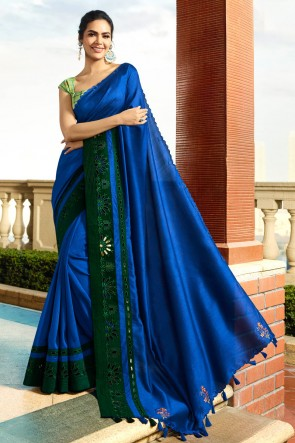 Admirable Royal Blue Embroidred Chanderi Saree And Blouse