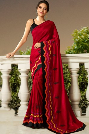 Desirable Red Embroidred Chanderi Saree With Printed Blouse