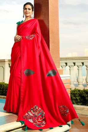 Excellent Red Embroidred Chanderi Saree And Blouse