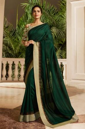 Gorgeous Mehendi Green Embroidred Silk Saree And Blouse