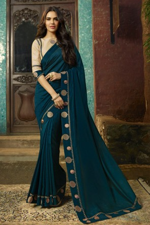 Fascinating Teal Embroidred Chanderi Saree And Blouse