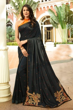 Heavy Designer Black Embroidred Silk Saree And Blouse