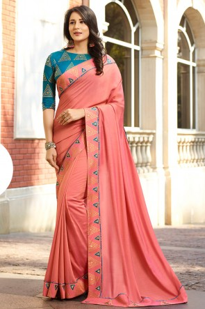 Graceful Peach Embroidred Chanderi Saree With Printed Blouse