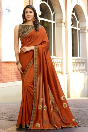 Lovely Coffee Embroidred Silk Saree And Blouse
