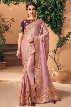 Wine Embroidred And Stone Work Designer Art Silk Saree And Blouse