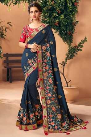 Embroidred And Stone Work Navy Blue Art Silk Designer Saree And Blouse