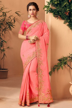 Beautiful Pink Embroidred And Stone Work Designer Art Silk Saree And Blouse