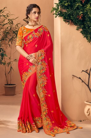 Appealing Red Embroidred And Stone Work Art Silk Saree And Blouse