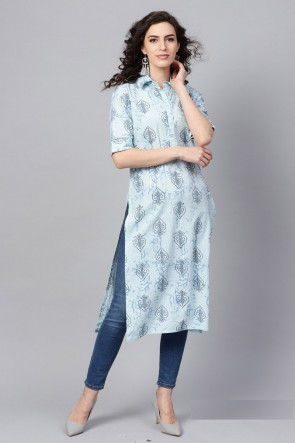 Gorgeous Sky Blue Solid Cotton Kurti