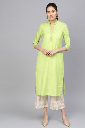 Beautiful Light Green Solid Cotton Kurti