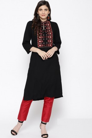 Lovely Black Solid Viscose Office Wear Kurti