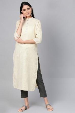 Heavy Designer Beige Cotton Solid Kurti