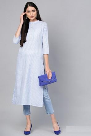 Beautiful Blue Cotton Solid Kurti