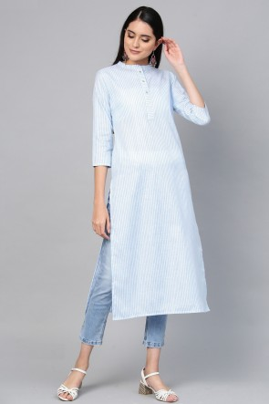 Marvelous Blue Cotton Solid Kurti