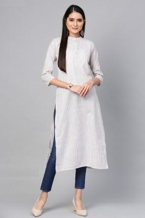 Ultimate Off White Cotton Solid Kurti