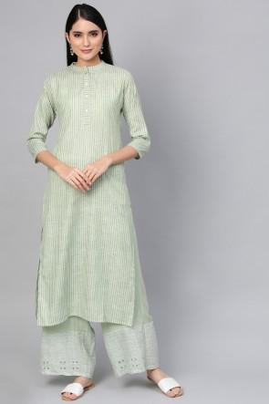 Cotton Pretty Green Solid Kurti