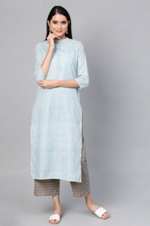 Admirable Blue Cotton Solid Kurti