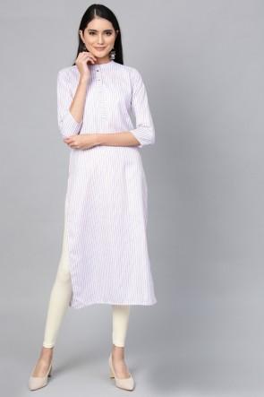 Classic Purple Cotton Solid Kurti
