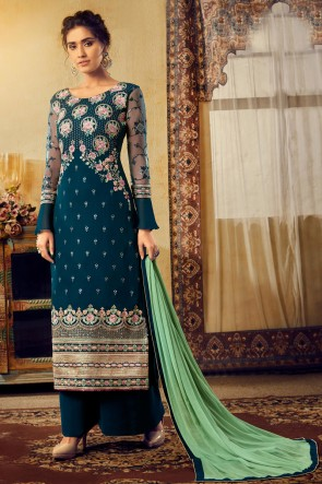Stunning Navy Blue Embroidered Viscose And Georgette Plazzo Suit With Chiffon Dupatta