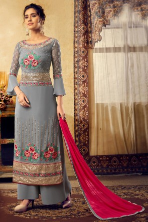 Viscose And Georgette Fabric Grey Embroidered Plazzo Suit With Chiffon Dupatta