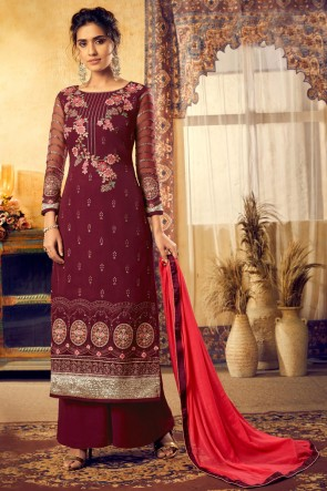 Elegant Georgette And Viscose Fabric Maroon Embroidered Plazzo Suit And Santoon Bottom