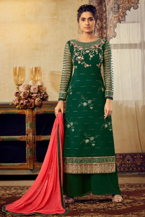 Georgette And Viscose Fabric Green Embroidery Work Plazzo Suit With Chiffon Dupatta