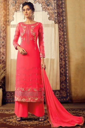 Pink Georgette And Viscose Fabric Embroidered Plazzo Suit With Chiffon Dupatta